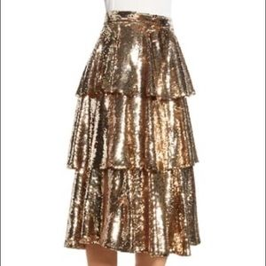 Brand new, tags still on gold tired sequin skirt